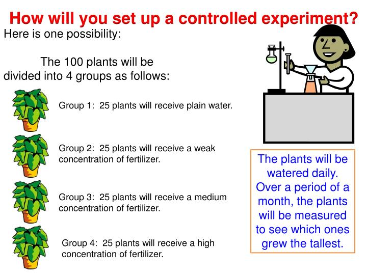 How will you set up a controlled experiment?