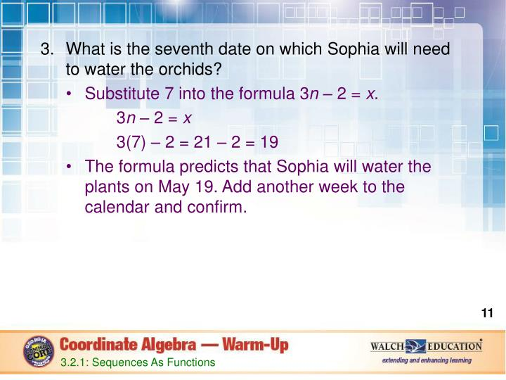 What is the seventh date on which Sophia will need to water the orchids?