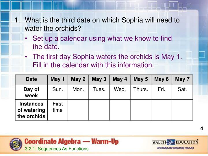 What is the third date on which Sophia will need to water the orchids?