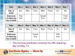 the formula predicted correctly the fifth watering day on may 13
