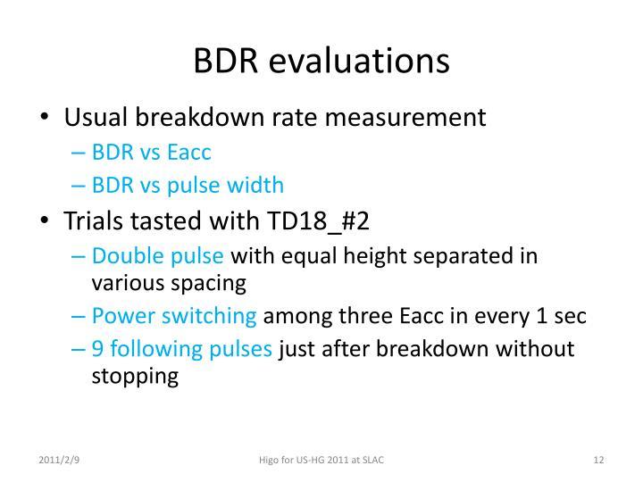 BDR evaluations