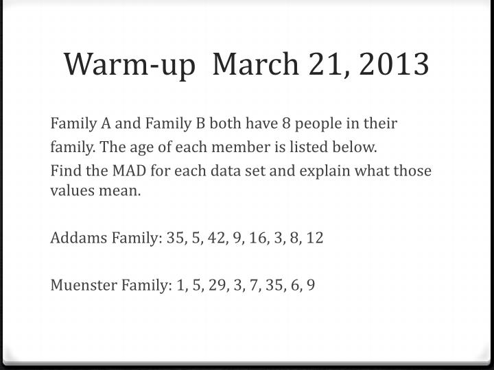 warm up march 21 2013