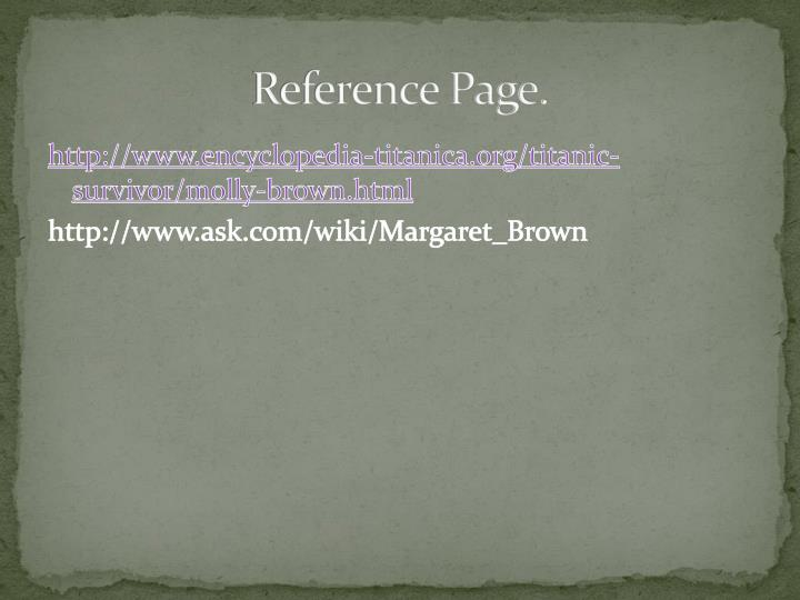 Reference Page.