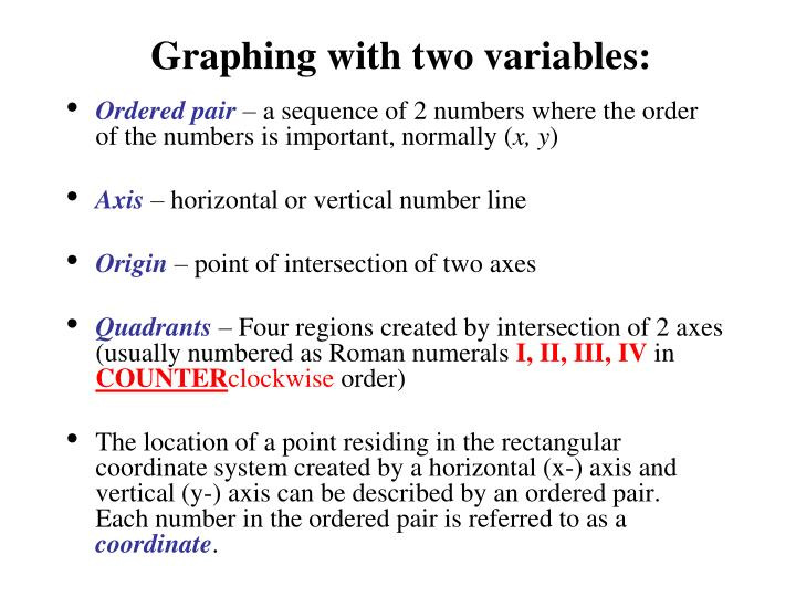 Graphing with two variables:
