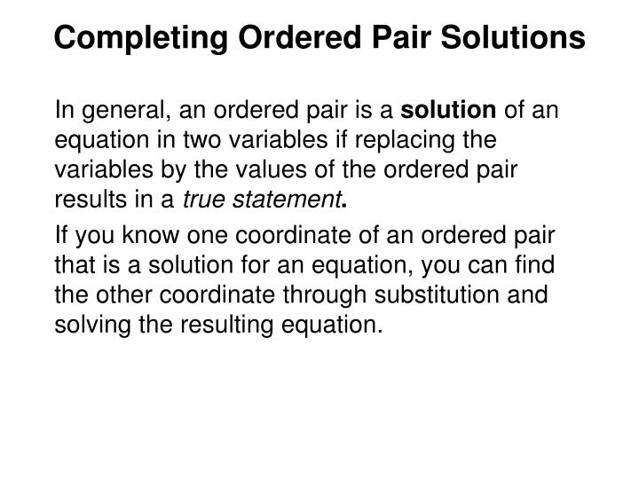 Completing Ordered Pair Solutions