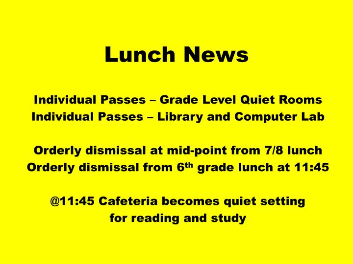 Lunch news