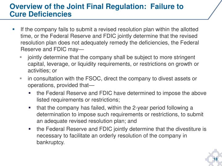 Overview of the Joint Final Regulation:  Failure to