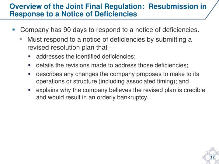 Overview of the Joint Final Regulation:  Resubmission in