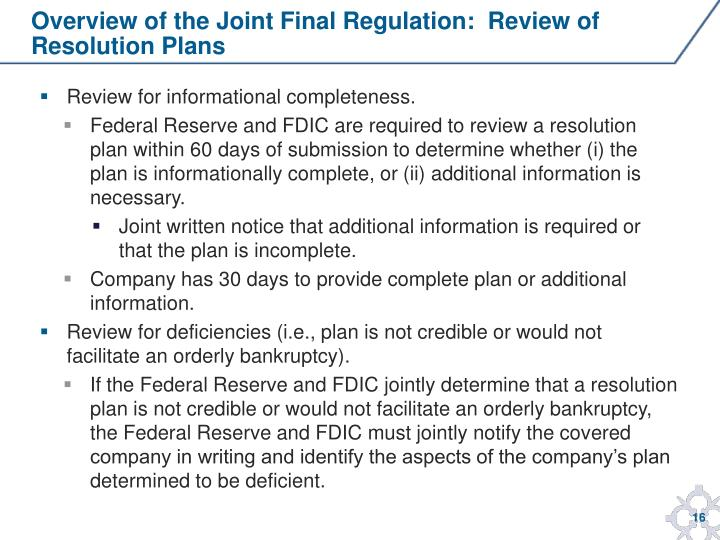 Overview of the Joint Final Regulation:  Review of
