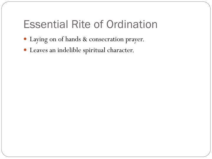 Essential Rite of Ordination