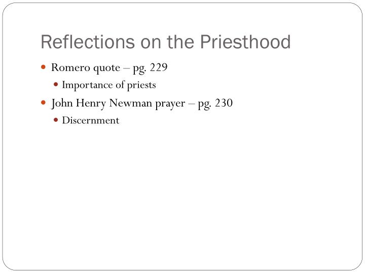 Reflections on the Priesthood