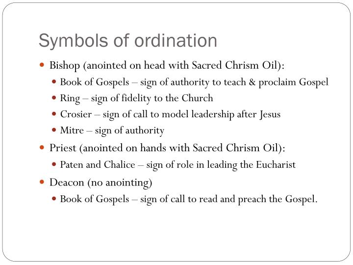 Symbols of ordination