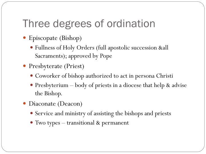 Three degrees of ordination