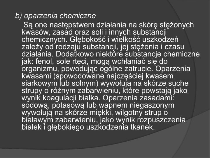 b) oparzenia chemiczne