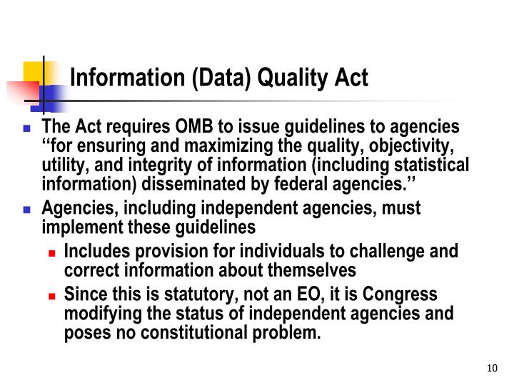Information (Data) Quality Act