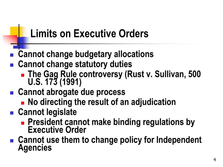 Limits on Executive Orders
