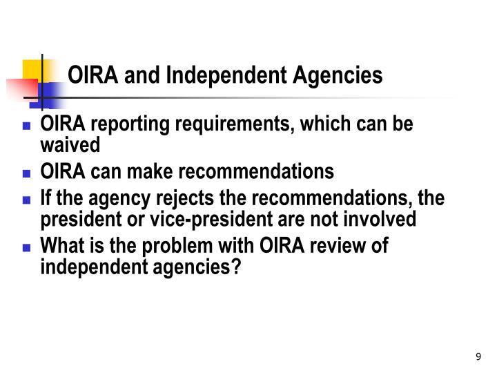 OIRA and Independent Agencies