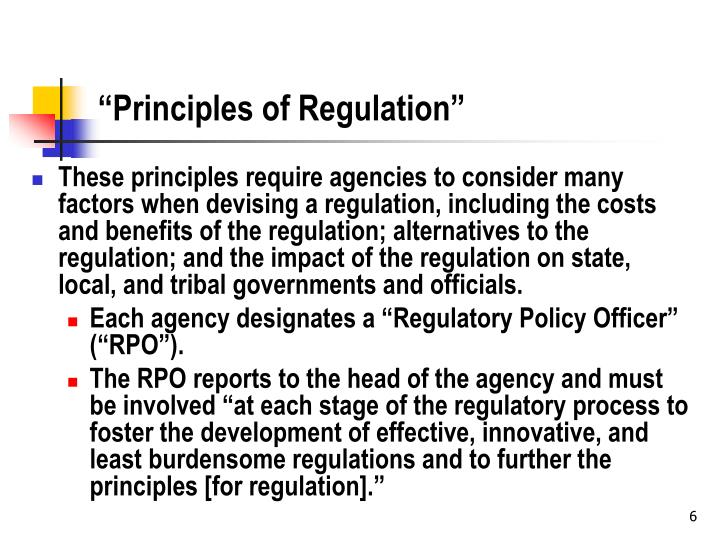 """Principles of Regulation"""