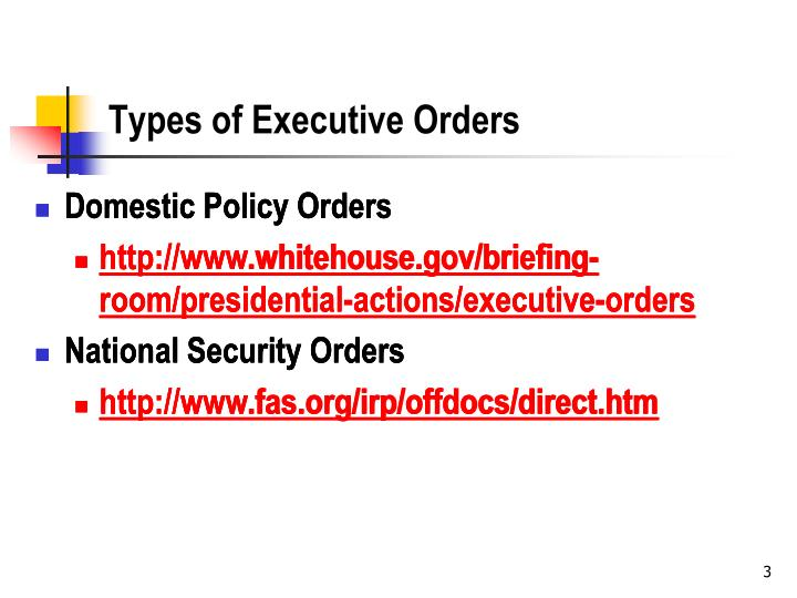 Types of executive orders