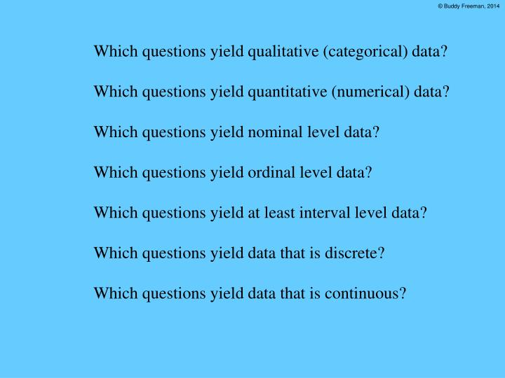 Which questions yield qualitative (categorical) data?