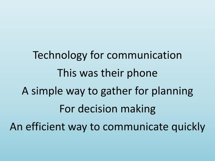 Technology for communication