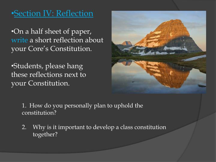 Section IV: Reflection