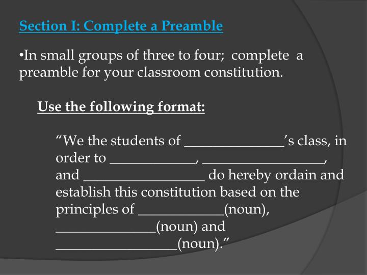 Section I: Complete a Preamble