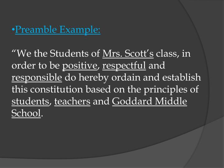 Preamble Example: