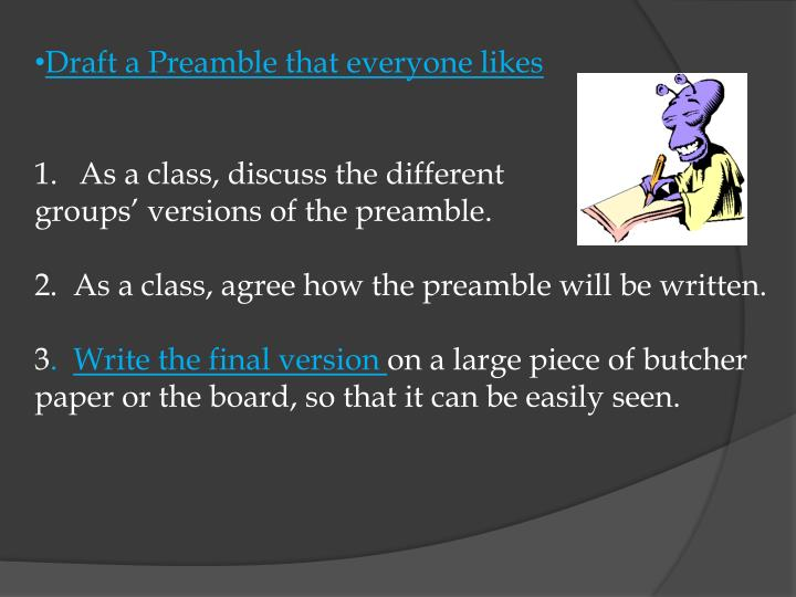 Draft a Preamble that everyone likes