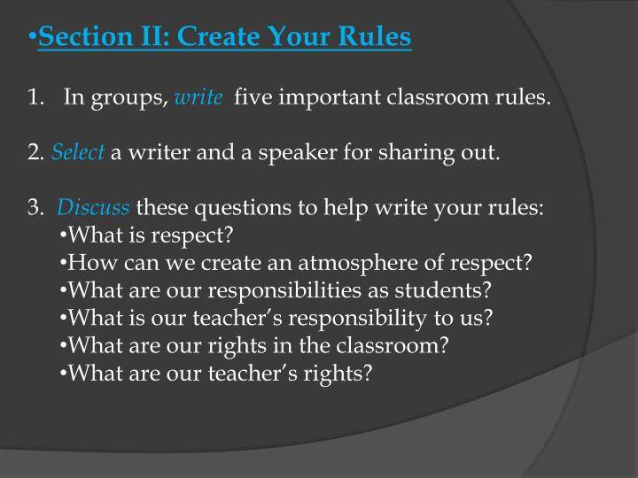 Section II: Create Your Rules