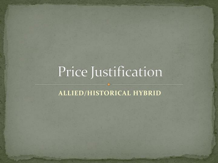 Price Justification