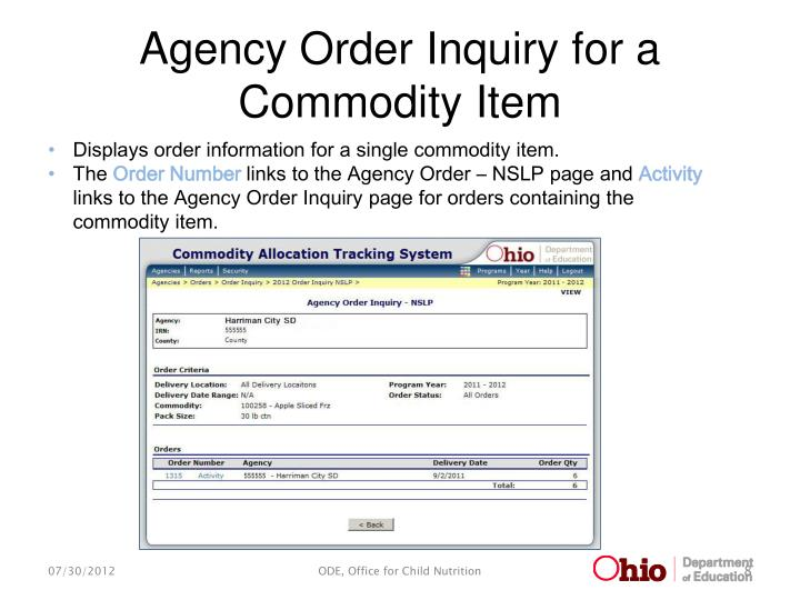 Agency Order Inquiry for a Commodity Item