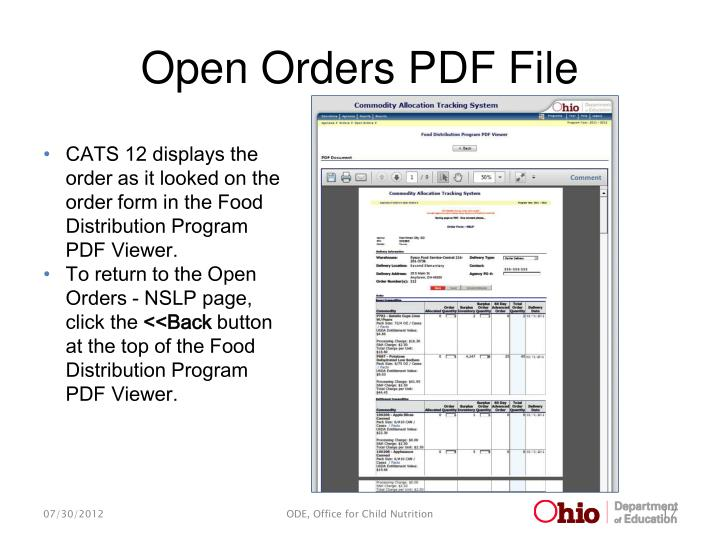 Open Orders PDF File