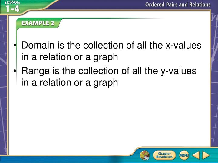 Domain is the collection of all the x-values in a relation or a graph