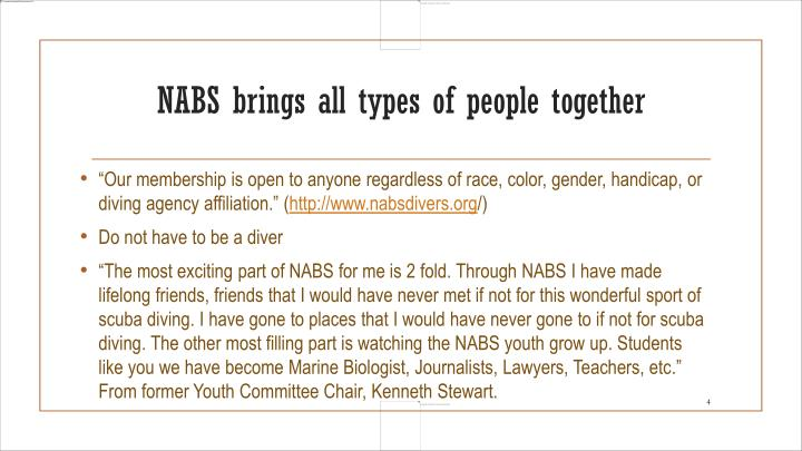 NABS brings all types of people together