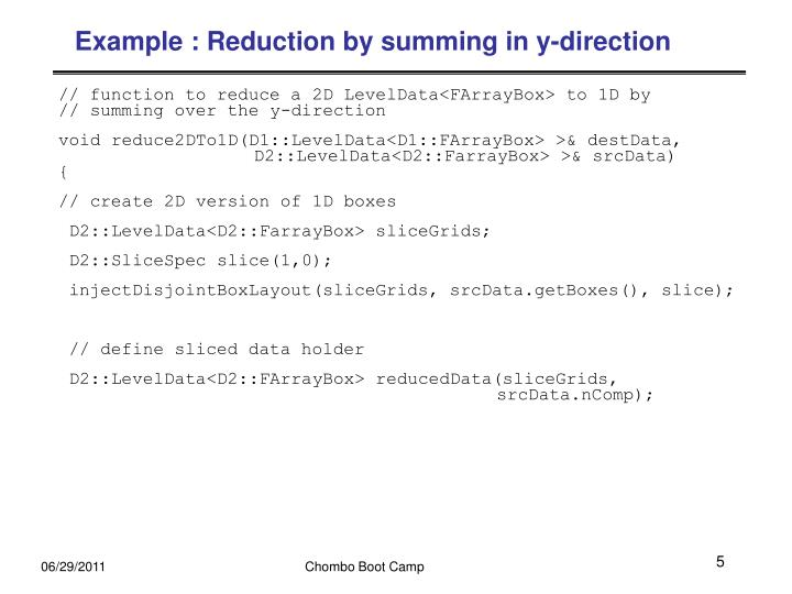 Example : Reduction by summing in y-direction