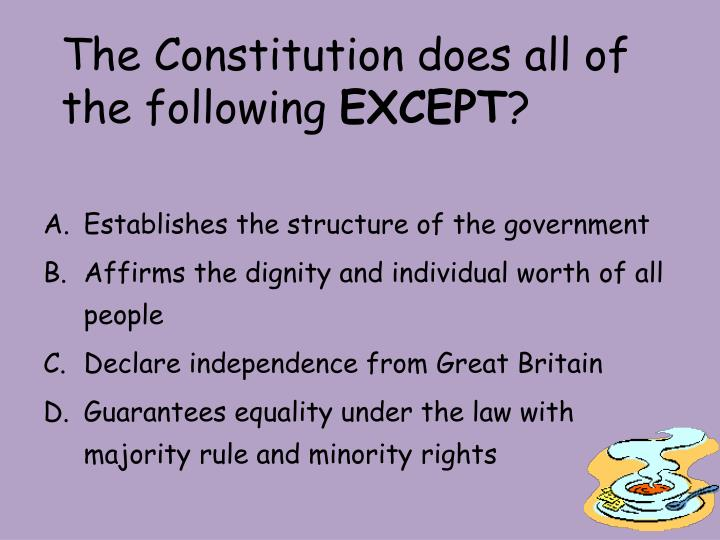 The constitution does all of the following except