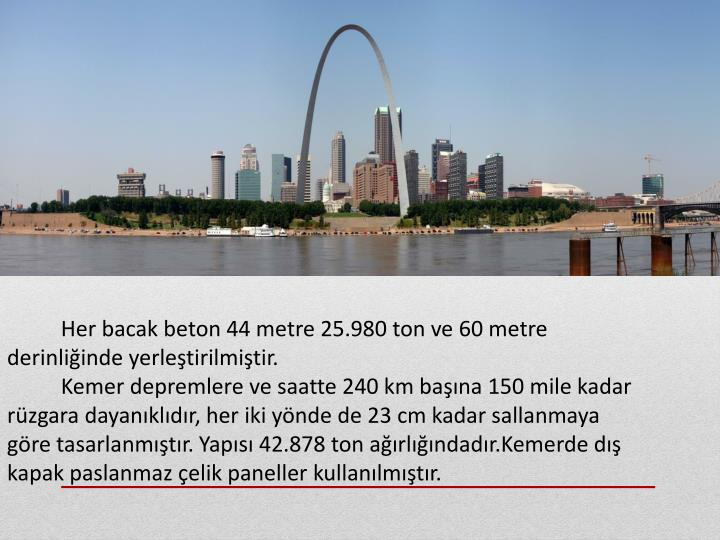 Her bacak beton 44 metre 25.980 ton ve 60 metre derinliğinde yerleştirilmiştir.