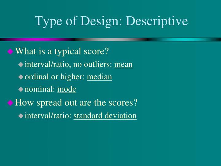 Type of Design: Descriptive