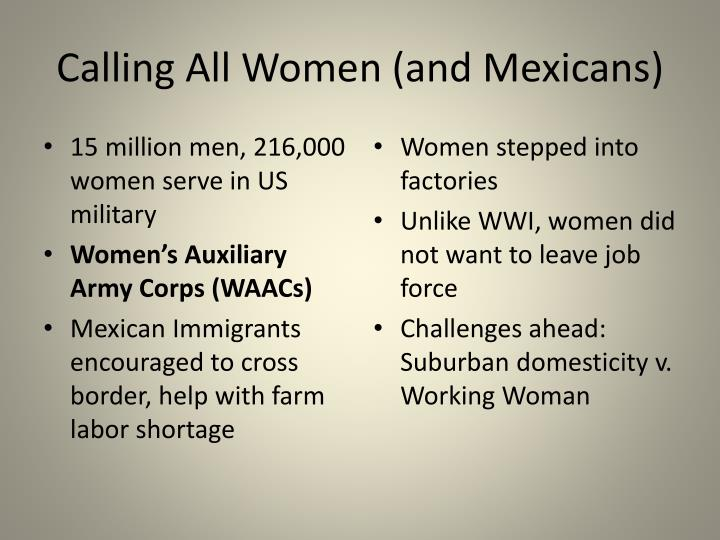 Calling All Women (and Mexicans)