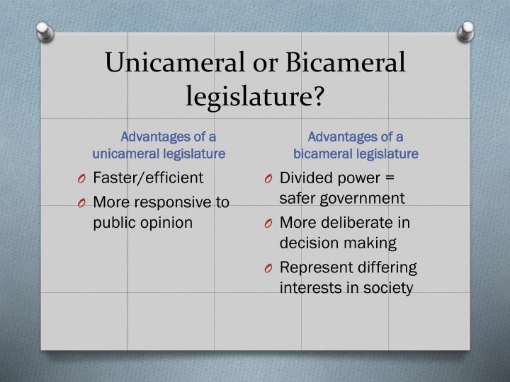 Unicameral or Bicameral legislature?