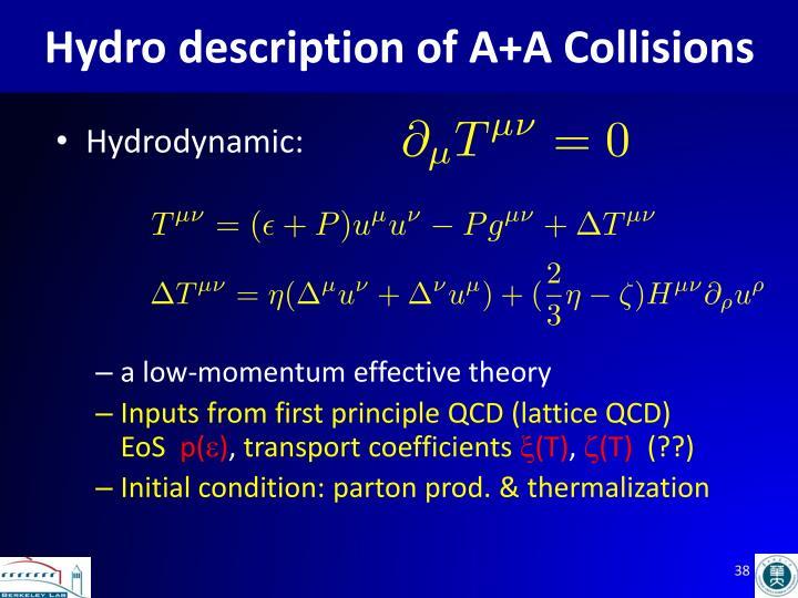 Hydro description of A+A Collisions