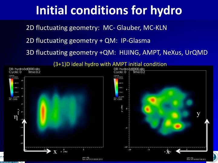 Initial conditions for hydro