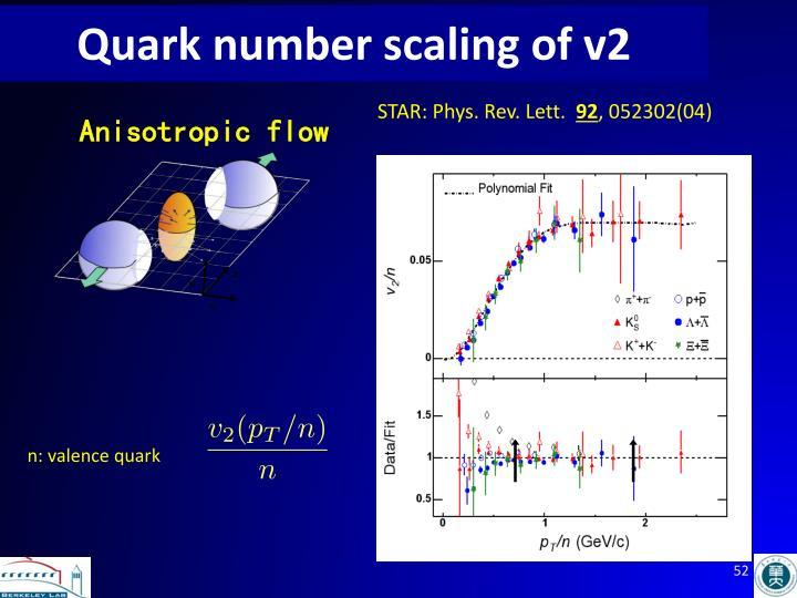 Quark number scaling of v2