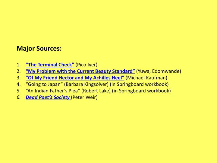 Major Sources:
