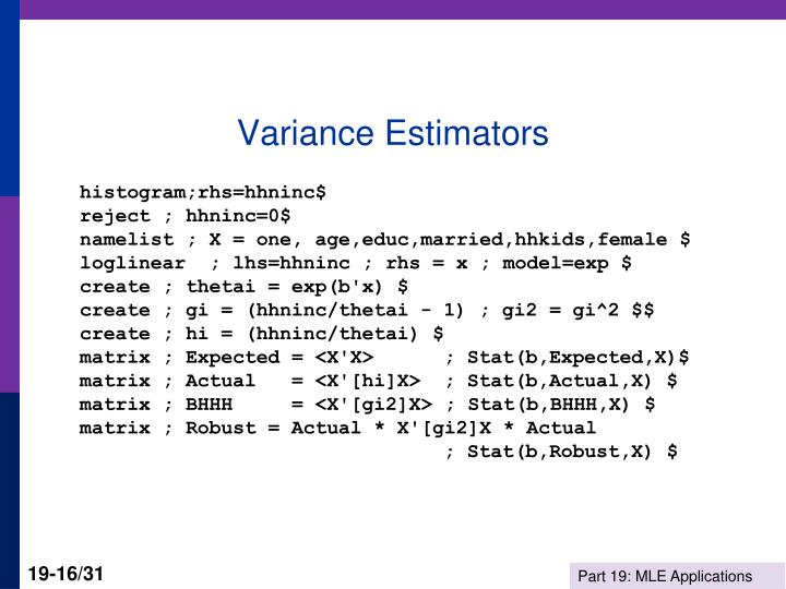 Variance Estimators