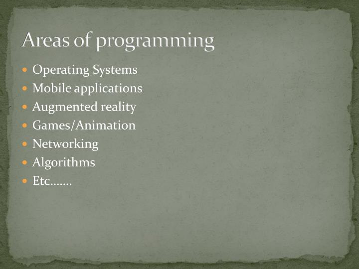 Areas of programming