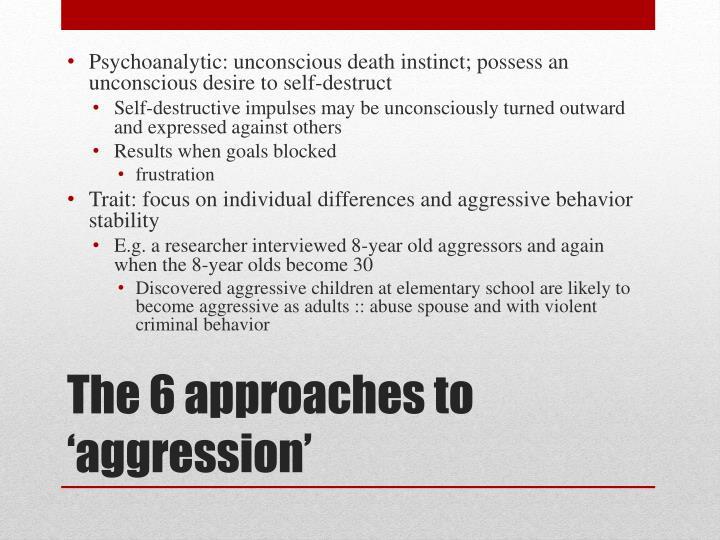 Psychoanalytic: unconscious death instinct; possess an unconscious desire to self-destruct