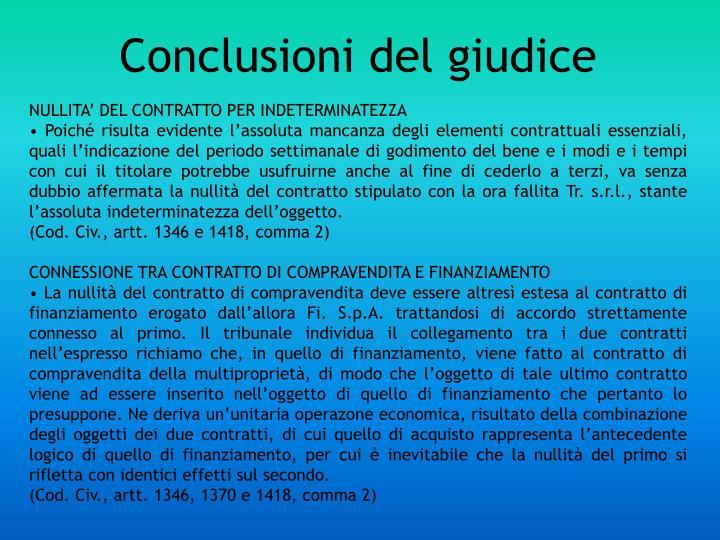 Conclusioni del giudice