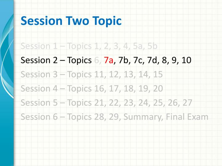 Session Two Topic